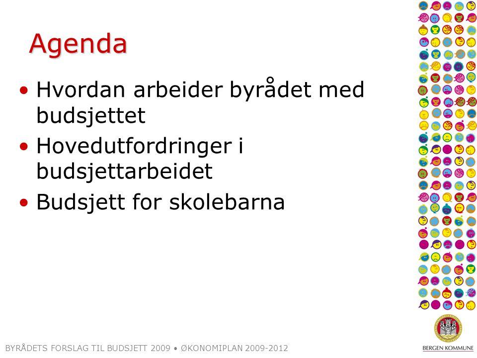 Agenda Hvordan arbeider byrådet med budsjettet Hovedutfordringer i budsjettarbeidet Budsjett for skolebarna BYRÅDETS FORSLAG TIL BUDSJETT 2009 ØKONOMIPLAN 2009-2012