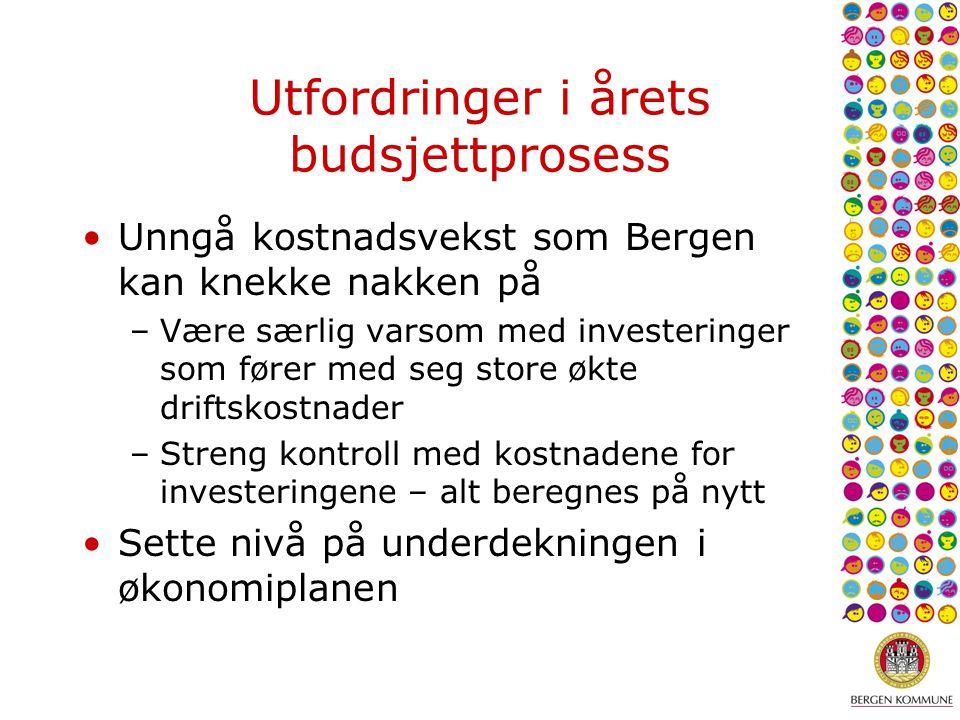 Utfordringer i årets budsjettprosess Unngå kostnadsvekst som Bergen kan knekke nakken på –Være særlig varsom med investeringer som fører med seg store økte driftskostnader –Streng kontroll med kostnadene for investeringene – alt beregnes på nytt Sette nivå på underdekningen i økonomiplanen