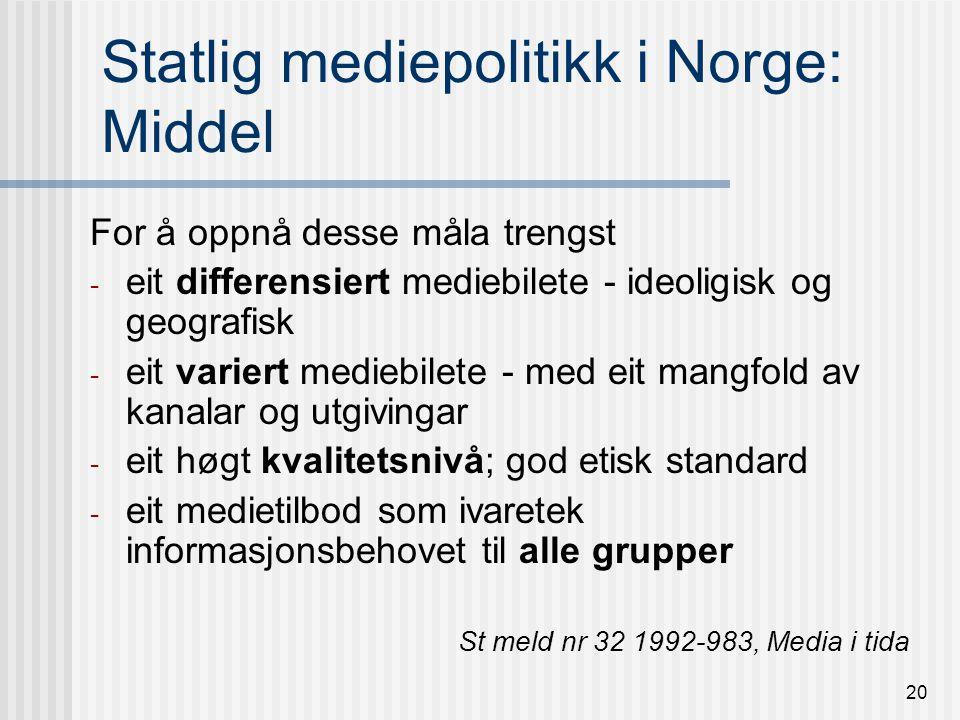 19 Statlig mediepolitikk i Norge.
