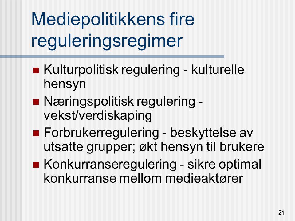 20 Statlig mediepolitikk i Norge: Middel For å oppnå desse måla trengst - eit differensiert mediebilete - ideoligisk og geografisk - eit variert mediebilete - med eit mangfold av kanalar og utgivingar - eit høgt kvalitetsnivå; god etisk standard - eit medietilbod som ivaretek informasjonsbehovet til alle grupper St meld nr 32 1992-983, Media i tida