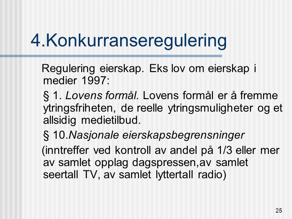 24 3.Forbrukerregulering Kringkastingsloven § 4-3, sikring av forbrukere mot operatører Markedsloven, forbud mot kjønndiskriminerende/usaklig reklame Forbud mot reklame for skadelige produkter alkohol, tobakk m fl Forbud mot politisk TV-reklame ( )