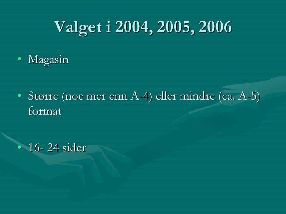 Valget i 2004, 2005, 2006 MagasinMagasin Større (noe mer enn A-4) eller mindre (ca.