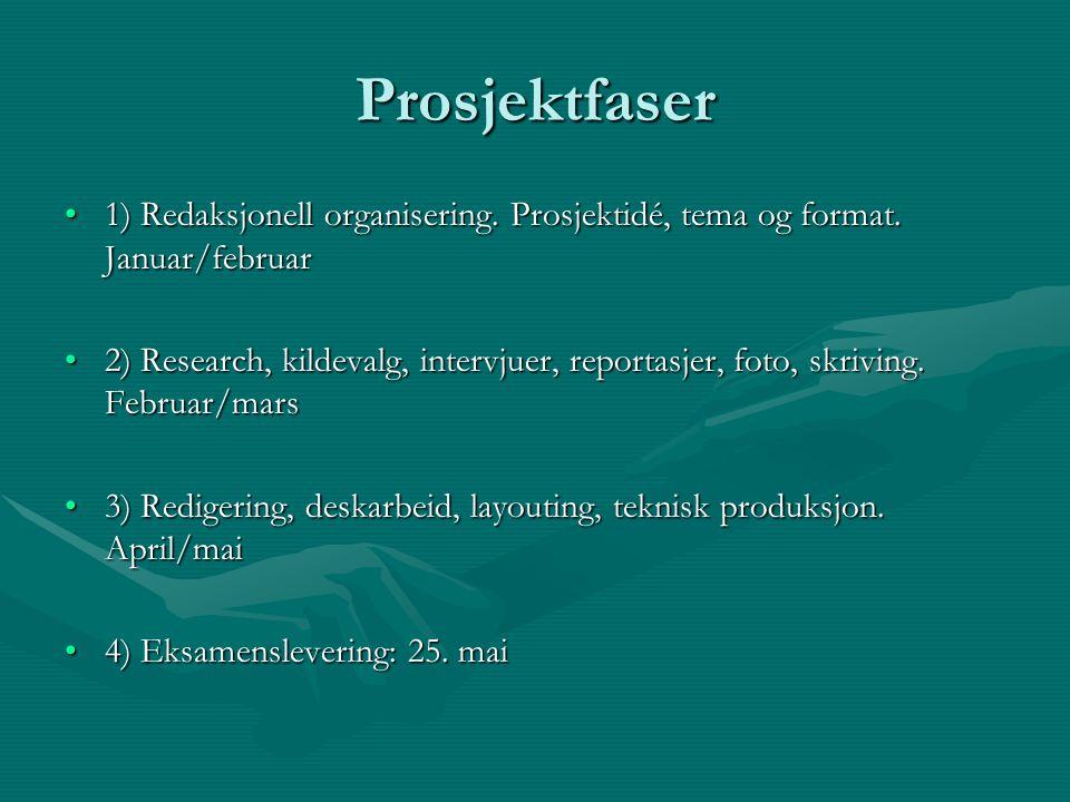 Prosjektfaser 1) Redaksjonell organisering. Prosjektidé, tema og format.