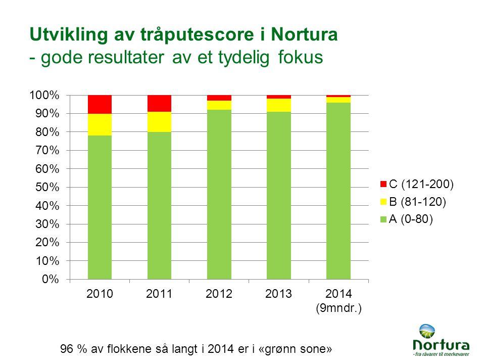 Utvikling av tråputescore i Nortura - gode resultater av et tydelig fokus 96 % av flokkene så langt i 2014 er i «grønn sone»