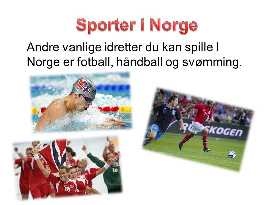 Andre vanlige idretter du kan spille I Norge er fotball, håndball og svømming.
