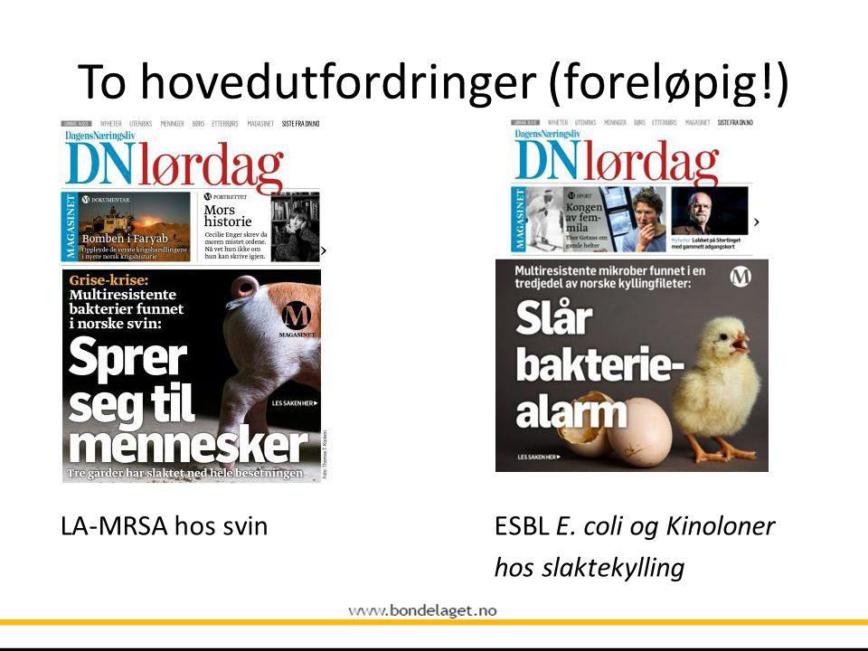 To hovedutfordringer (foreløpig!) LA-MRSA hos svin ESBL E. coli og Kinoloner hos slaktekylling