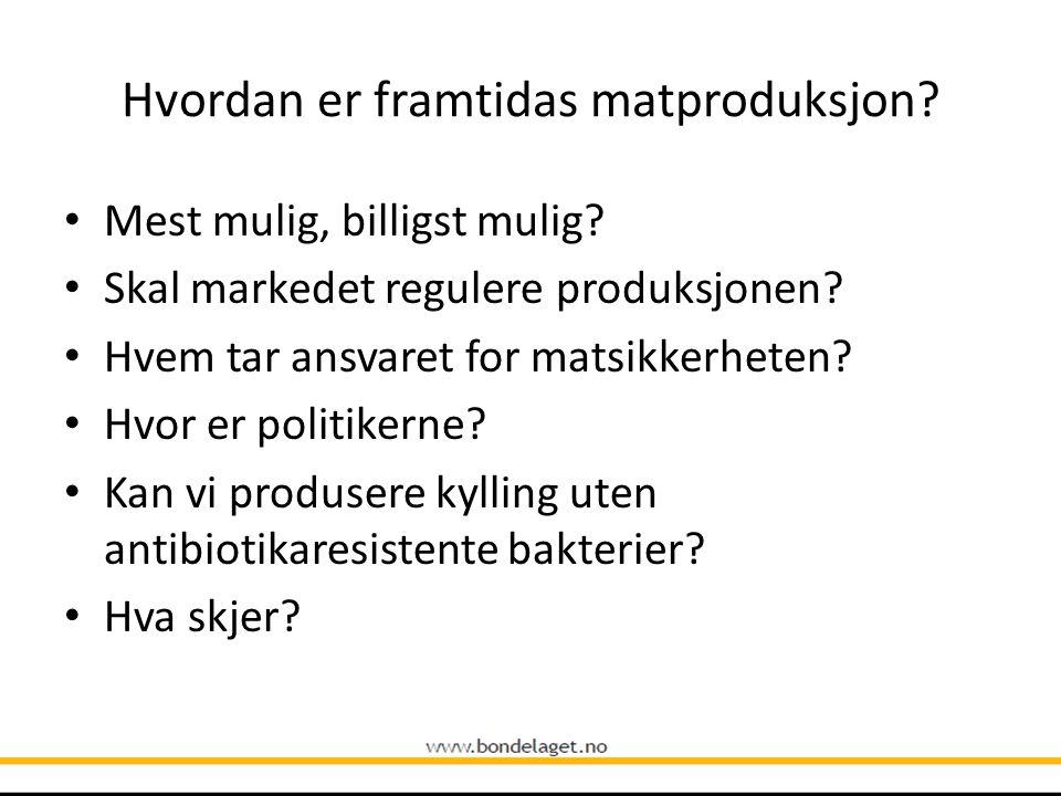 Hvordan er framtidas matproduksjon? Mest mulig, billigst mulig? Skal markedet regulere produksjonen? Hvem tar ansvaret for matsikkerheten? Hvor er pol