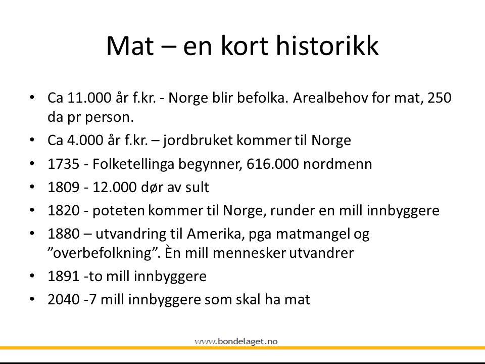 Mat – en kort historikk Ca 11.000 år f.kr. - Norge blir befolka. Arealbehov for mat, 250 da pr person. Ca 4.000 år f.kr. – jordbruket kommer til Norge