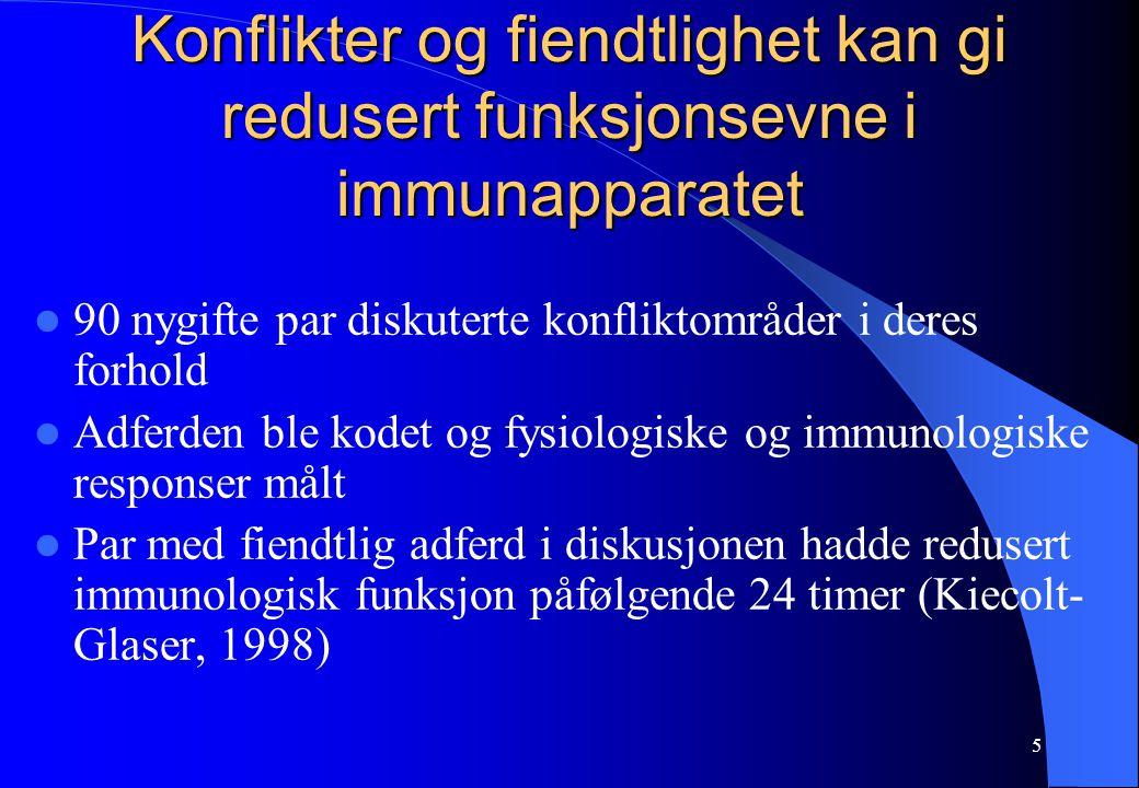 6 Ektefelles død og immunapparatet (1) 1 år etter ektefelles død hadde ca 2/3 av de etterlatte nedsatt helse (Irwin, 1987) Menn synes å være mer utsatt for redusert helse etter ektefellens død, sammenlignet med kvinner (Stroebe, 2001) Ektefellens dødsfall reduserer immunfunksjonen (Suls & Wallston, 2003)