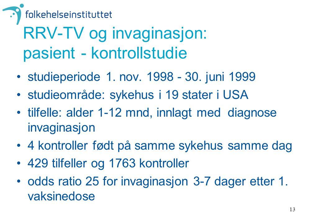 13 RRV-TV og invaginasjon: pasient - kontrollstudie studieperiode 1.
