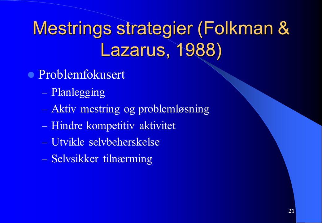 21 Mestrings strategier (Folkman & Lazarus, 1988) Problemfokusert – Planlegging – Aktiv mestring og problemløsning – Hindre kompetitiv aktivitet – Utvikle selvbeherskelse – Selvsikker tilnærming