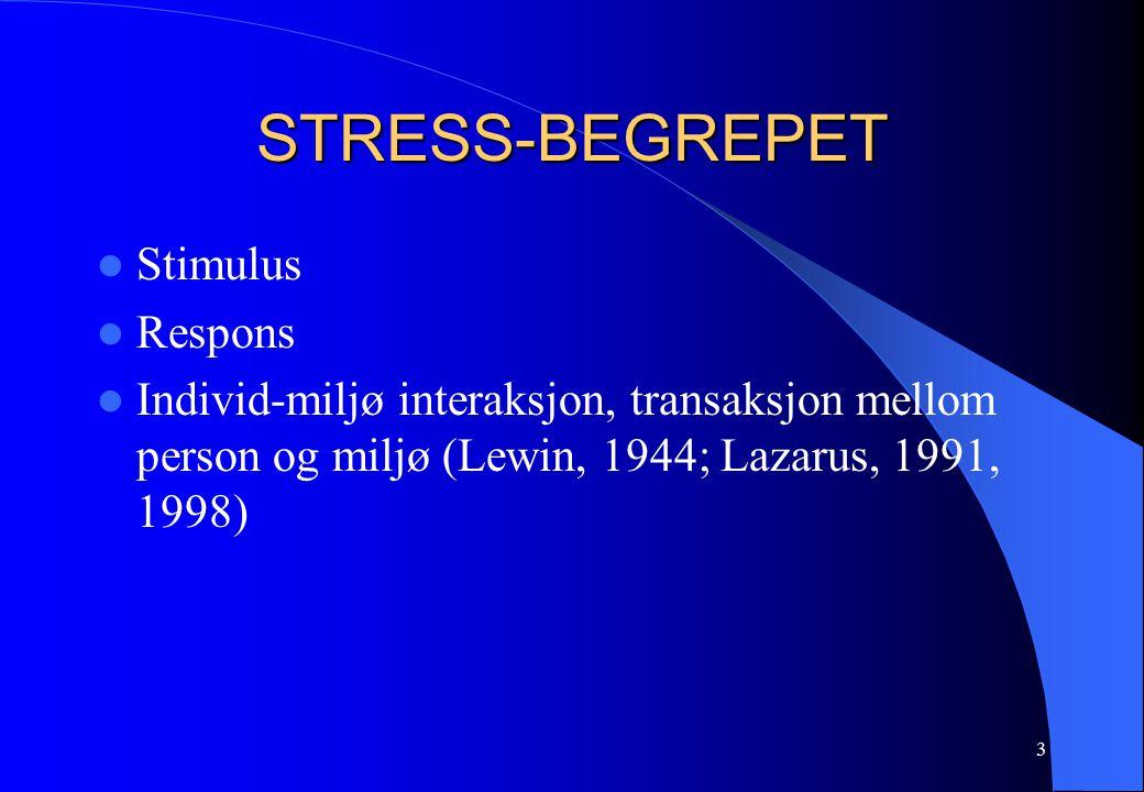 3 STRESS-BEGREPET Stimulus Respons Individ-miljø interaksjon, transaksjon mellom person og miljø (Lewin, 1944; Lazarus, 1991, 1998)