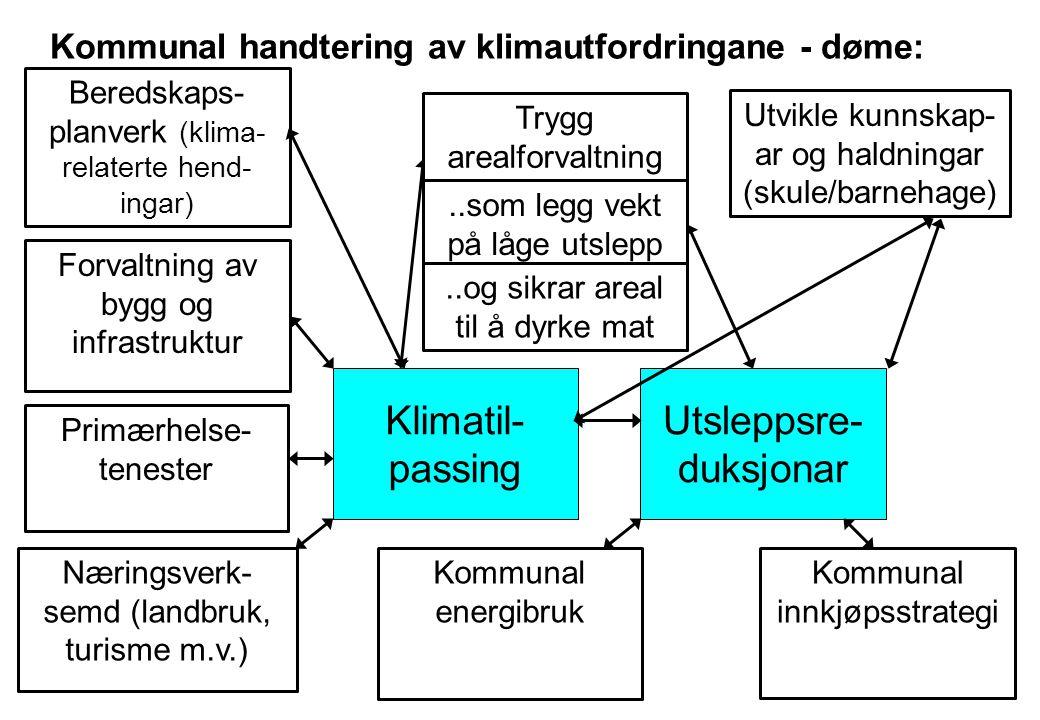 Kommunal handtering av klimautfordringane - døme: Klimatil- passing Utsleppsre- duksjonar Kommunal energibruk Næringsverk- semd (landbruk, turisme m.v.) Forvaltning av bygg og infrastruktur Utvikle kunnskap- ar og haldningar (skule/barnehage) Beredskaps- planverk (klima- relaterte hend- ingar) Trygg arealforvaltning..som legg vekt på låge utslepp..og sikrar areal til å dyrke mat Kommunal innkjøpsstrategi Primærhelse- tenester