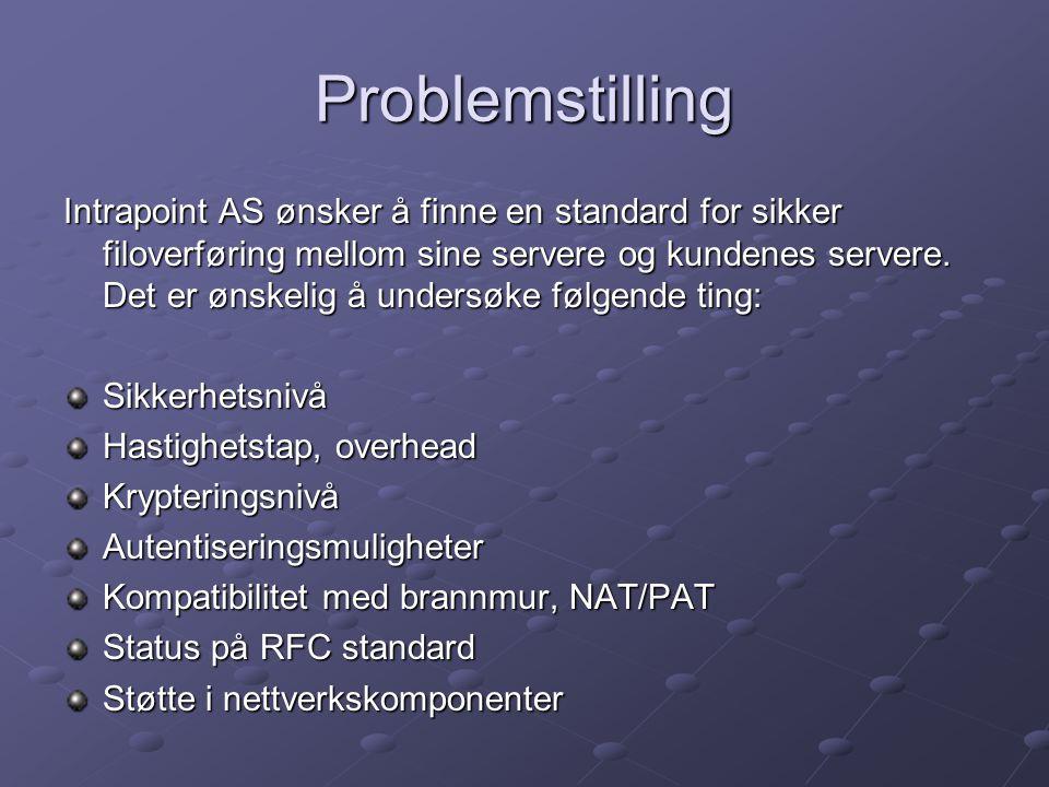 Problemstilling Intrapoint AS ønsker å finne en standard for sikker filoverføring mellom sine servere og kundenes servere.