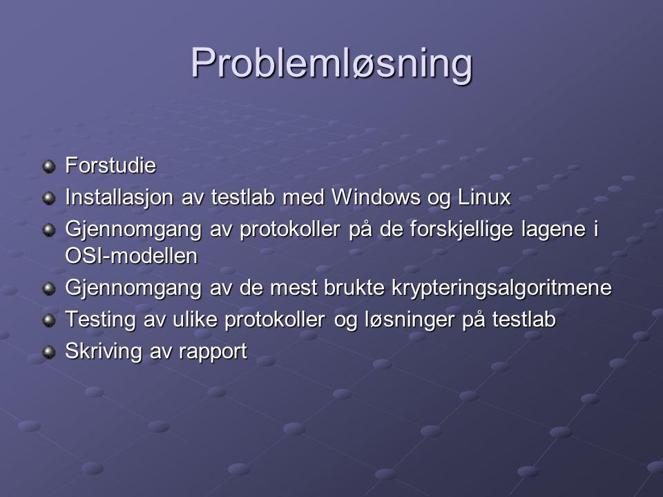 Problemløsning Forstudie Installasjon av testlab med Windows og Linux Gjennomgang av protokoller på de forskjellige lagene i OSI-modellen Gjennomgang av de mest brukte krypteringsalgoritmene Testing av ulike protokoller og løsninger på testlab Skriving av rapport