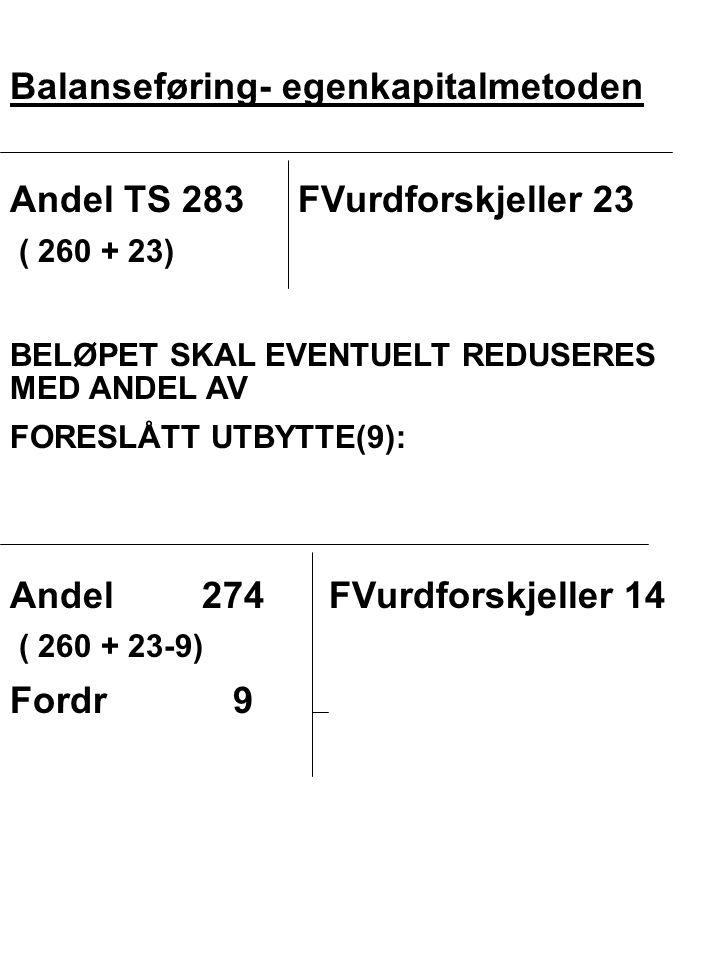 Balanseføring- egenkapitalmetoden Andel TS 283FVurdforskjeller 23 ( 260 + 23) BELØPET SKAL EVENTUELT REDUSERES MED ANDEL AV FORESLÅTT UTBYTTE(9): Ande