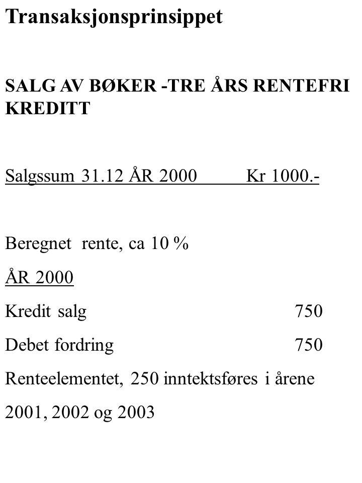 Transaksjonsprinsippet SALG AV BØKER -TRE ÅRS RENTEFRI KREDITT Salgssum 31.12 ÅR 2000Kr 1000.- Beregnet rente, ca 10 % ÅR 2000 Kredit salg 750 Debet f