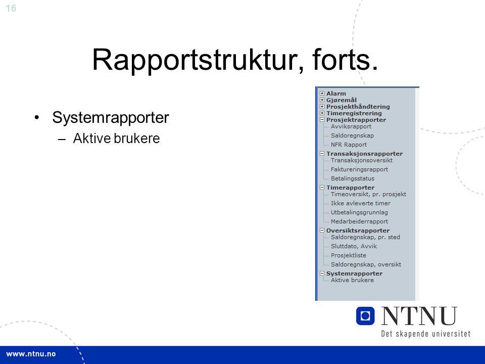 16 Rapportstruktur, forts. Systemrapporter –Aktive brukere