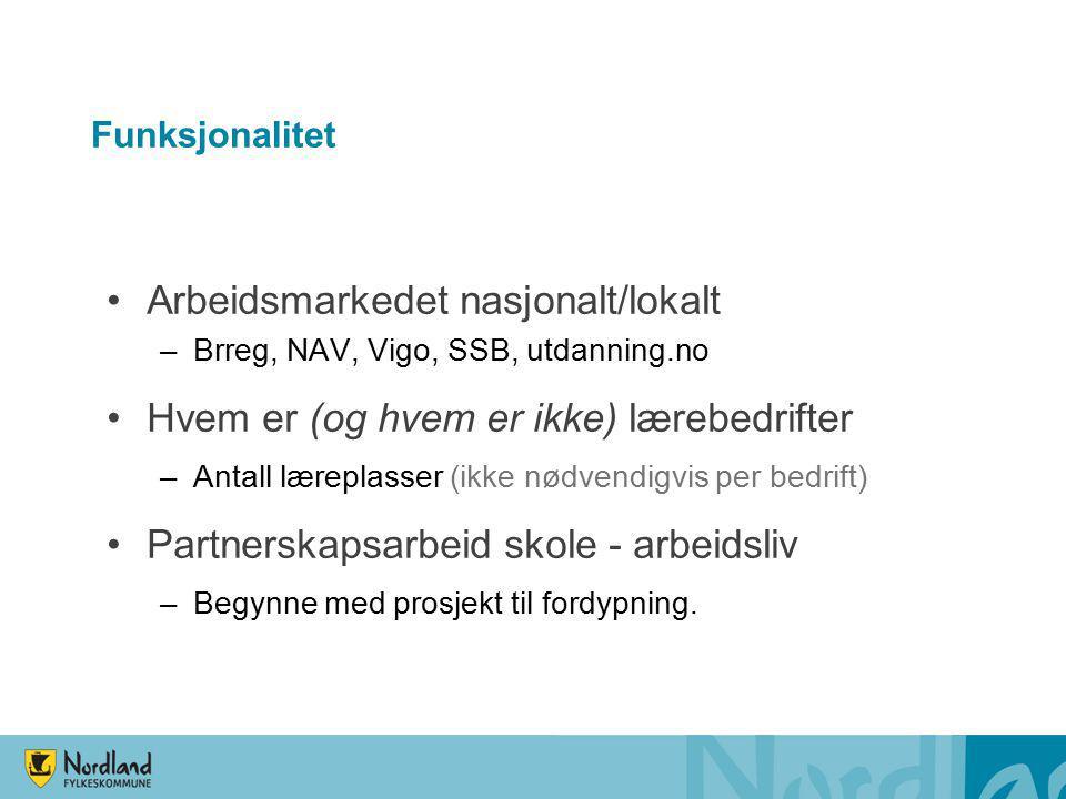 Funksjonalitet Arbeidsmarkedet nasjonalt/lokalt –Brreg, NAV, Vigo, SSB, utdanning.no Hvem er (og hvem er ikke) lærebedrifter –Antall læreplasser (ikke