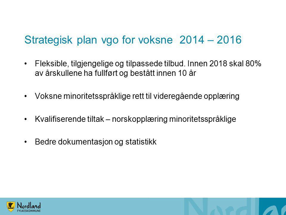 Strategisk plan vgo for voksne 2014 – 2016 Fleksible, tilgjengelige og tilpassede tilbud. Innen 2018 skal 80% av årskullene ha fullført og bestått inn