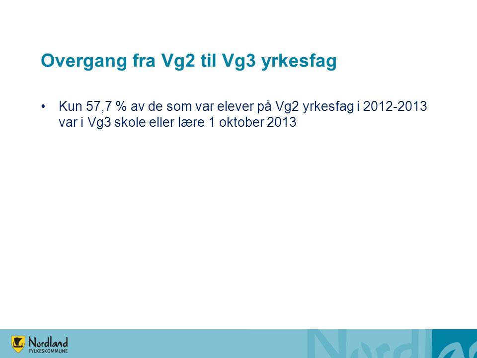 Overgang fra Vg2 til Vg3 yrkesfag Kun 57,7 % av de som var elever på Vg2 yrkesfag i 2012-2013 var i Vg3 skole eller lære 1 oktober 2013