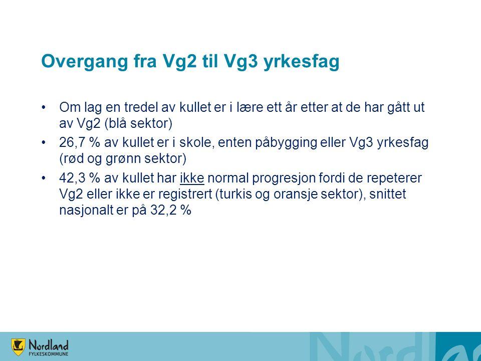 Overgang fra Vg2 til Vg3 yrkesfag Om lag en tredel av kullet er i lære ett år etter at de har gått ut av Vg2 (blå sektor) 26,7 % av kullet er i skole,
