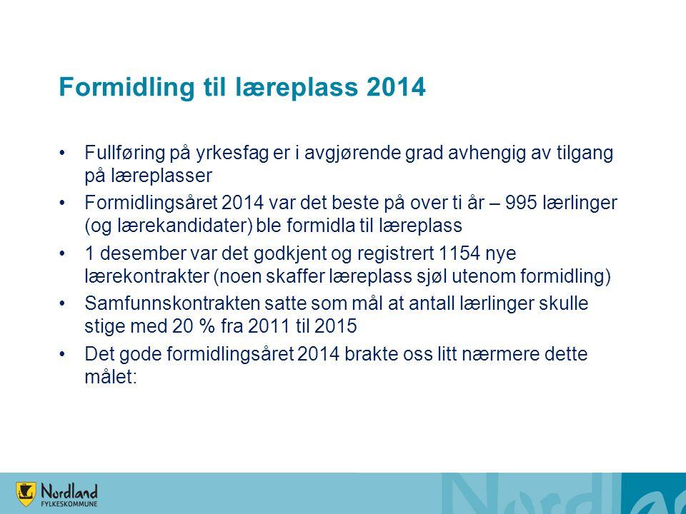 Formidling til læreplass 2014 Fullføring på yrkesfag er i avgjørende grad avhengig av tilgang på læreplasser Formidlingsåret 2014 var det beste på ove