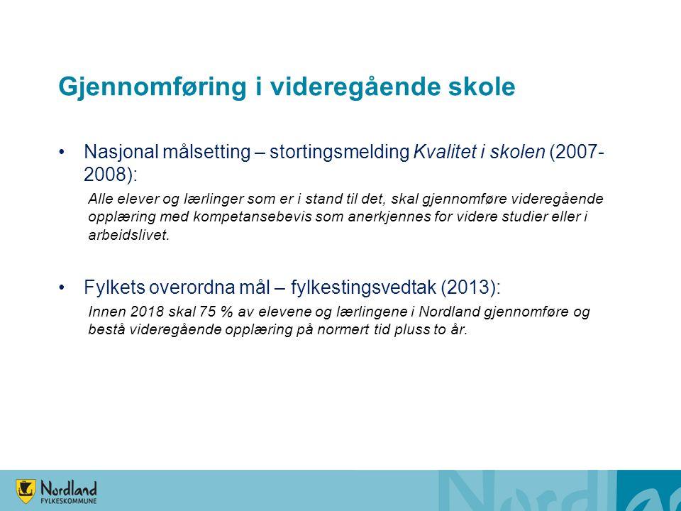 Gjennomføring i videregående skole Nasjonal målsetting – stortingsmelding Kvalitet i skolen (2007- 2008): Alle elever og lærlinger som er i stand til