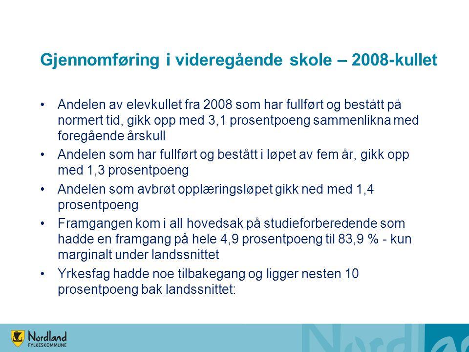 Gjennomføring i videregående skole – 2008-kullet Andelen av elevkullet fra 2008 som har fullført og bestått på normert tid, gikk opp med 3,1 prosentpo