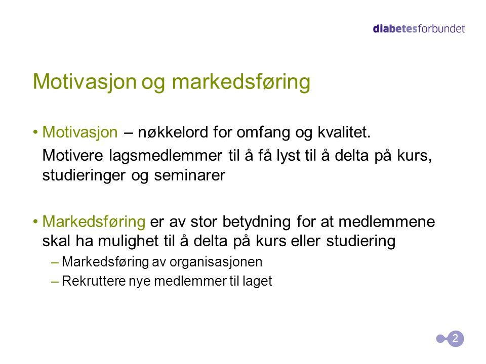 Motivasjon og markedsføring Motivasjon – nøkkelord for omfang og kvalitet. Motivere lagsmedlemmer til å få lyst til å delta på kurs, studieringer og s