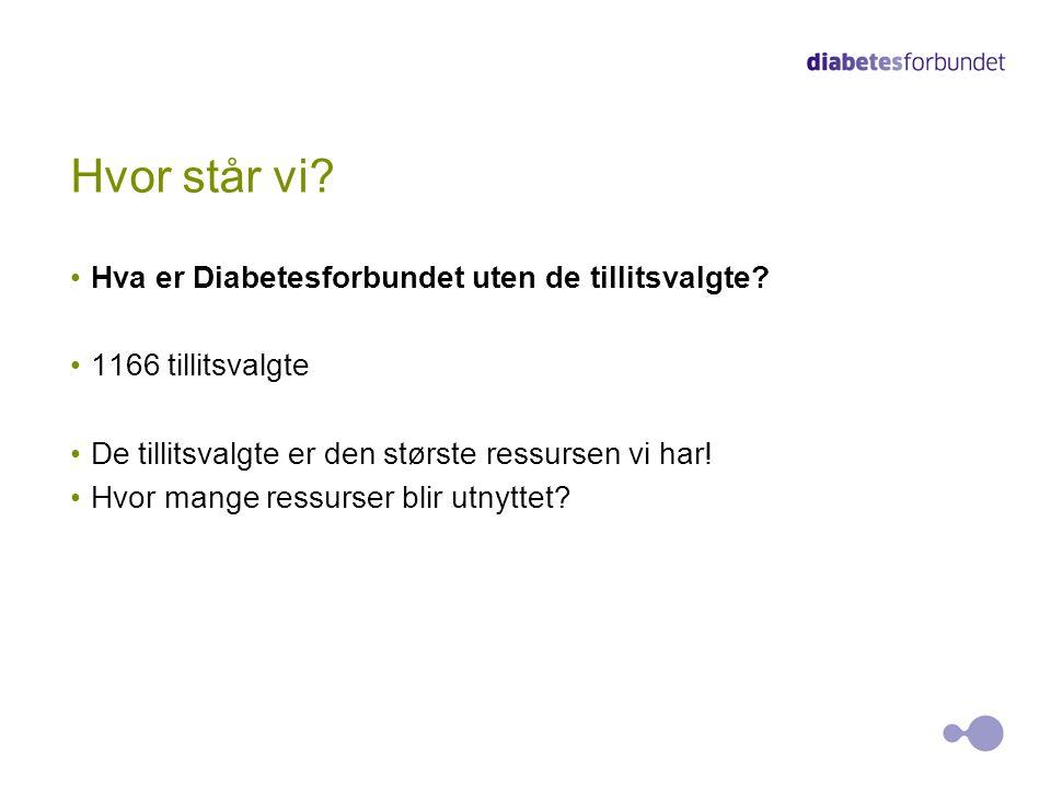 Hvor står vi? Hva er Diabetesforbundet uten de tillitsvalgte? 1166 tillitsvalgte De tillitsvalgte er den største ressursen vi har! Hvor mange ressurse