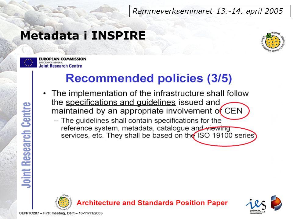 Rammeverkseminaret 13.-14. april 2005 Metadata i INSPIRE
