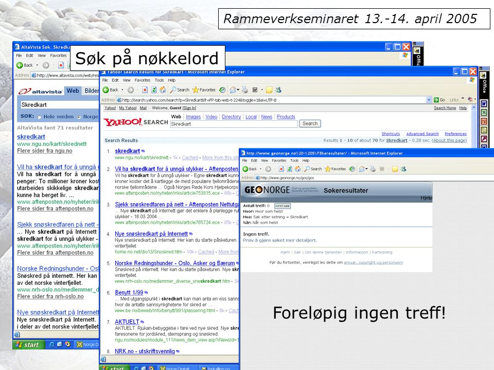 Rammeverkseminaret 13.-14. april 2005 Foreløpig ingen treff! Søk på nøkkelord