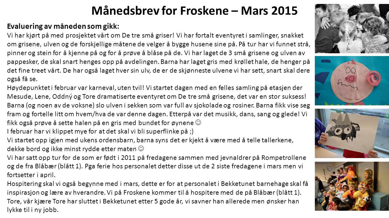 Månedsbrev for Froskene – Mars 2015 Evaluering av måneden som gikk: Vi har kjørt på med prosjektet vårt om De tre små griser! Vi har fortalt eventyret