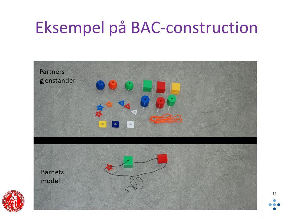 Eksempel på BAC-construction 11 Barnets modell Partners gjenstander