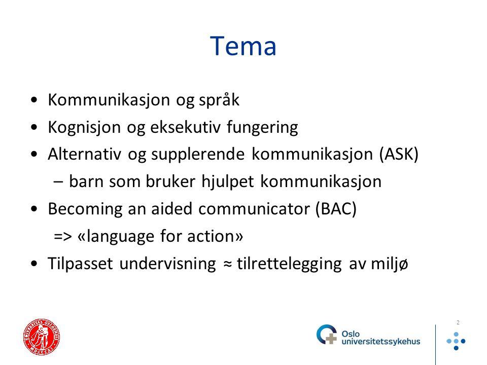 Tema Kommunikasjon og språk Kognisjon og eksekutiv fungering Alternativ og supplerende kommunikasjon (ASK) –barn som bruker hjulpet kommunikasjon Beco