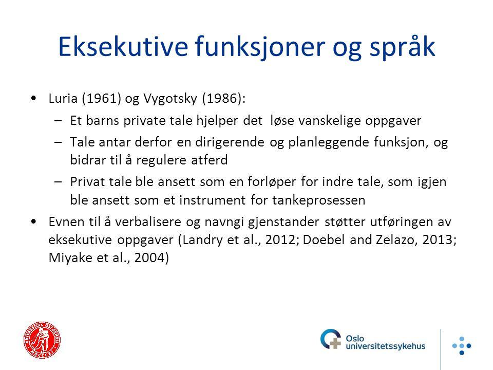 Eksekutive funksjoner og språk Luria (1961) og Vygotsky (1986): –Et barns private tale hjelper det løse vanskelige oppgaver –Tale antar derfor en diri