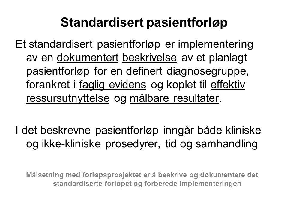 Standardisert pasientforløp Et standardisert pasientforløp er implementering av en dokumentert beskrivelse av et planlagt pasientforløp for en definert diagnosegruppe, forankret i faglig evidens og koplet til effektiv ressursutnyttelse og målbare resultater.