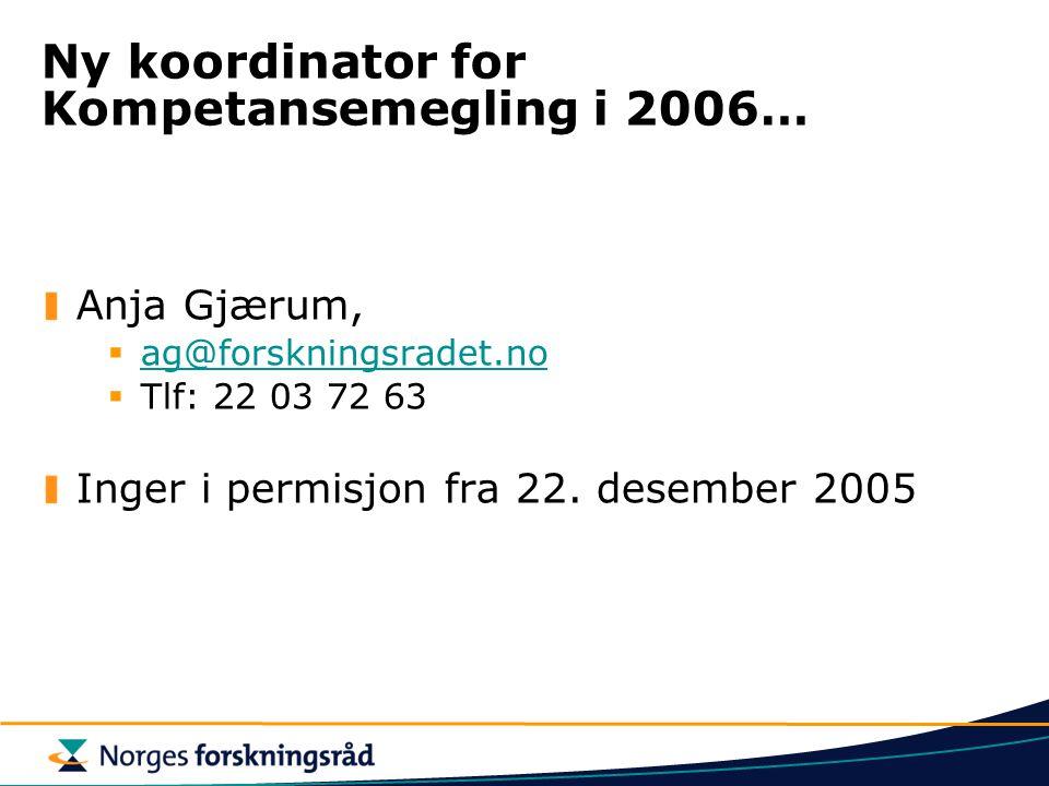 Ny koordinator for Kompetansemegling i 2006… Anja Gjærum,  ag@forskningsradet.no ag@forskningsradet.no  Tlf: 22 03 72 63 Inger i permisjon fra 22.