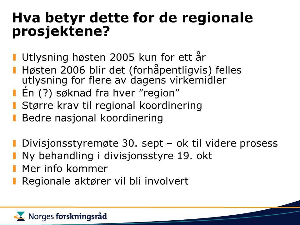 Hva betyr dette for de regionale prosjektene.