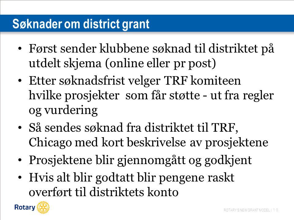 ROTARY'S NEW GRANT MODEL | 10 Søknader om district grant Først sender klubbene søknad til distriktet på utdelt skjema (online eller pr post) Etter søk