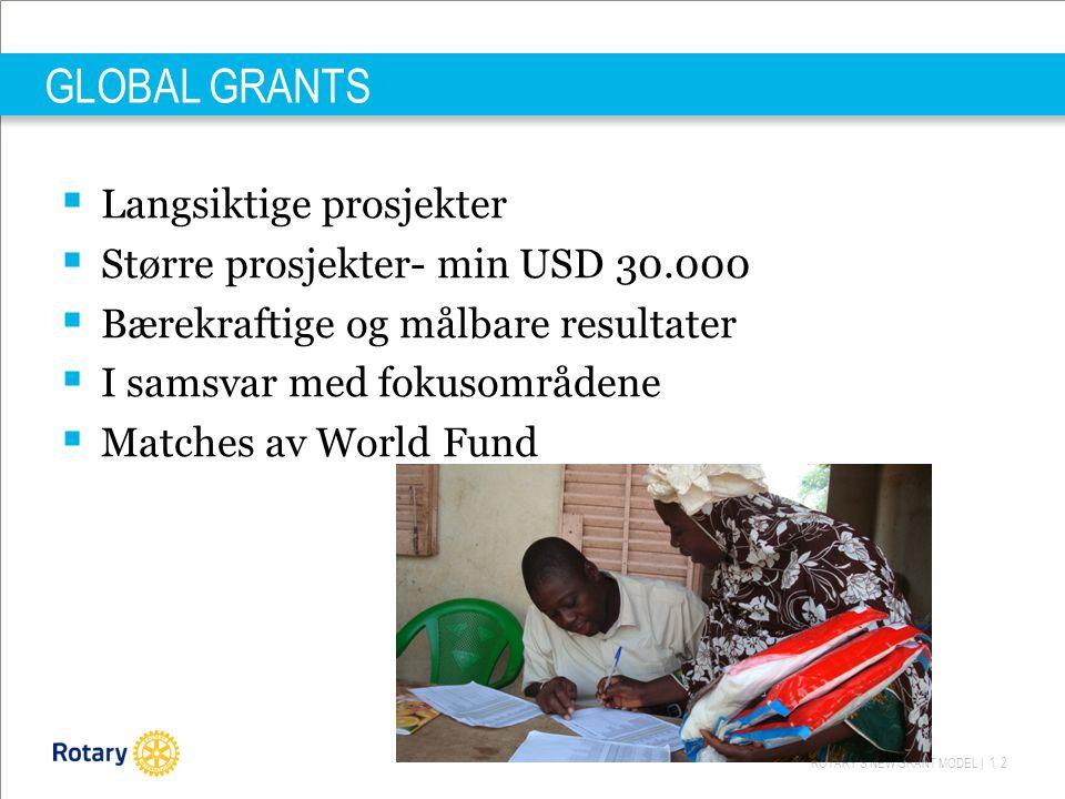 ROTARY'S NEW GRANT MODEL | 12 GLOBAL GRANTS  Langsiktige prosjekter  Større prosjekter- min USD 30.000  Bærekraftige og målbare resultater  I samsvar med fokusområdene  Matches av World Fund