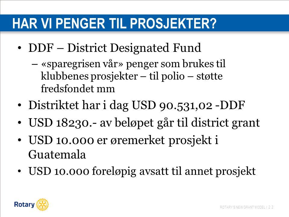 ROTARY'S NEW GRANT MODEL | 22 HAR VI PENGER TIL PROSJEKTER? DDF – District Designated Fund – «sparegrisen vår» penger som brukes til klubbenes prosjek