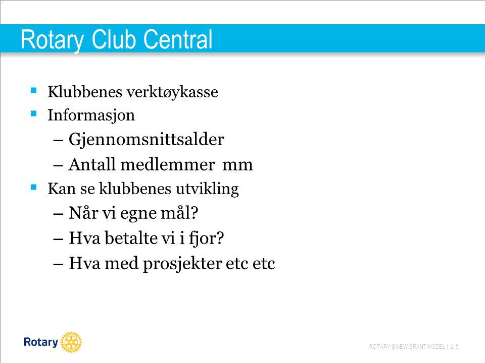 ROTARY'S NEW GRANT MODEL | 25 Rotary Club Central  Klubbenes verktøykasse  Informasjon – Gjennomsnittsalder – Antall medlemmer mm  Kan se klubbenes utvikling – Når vi egne mål.