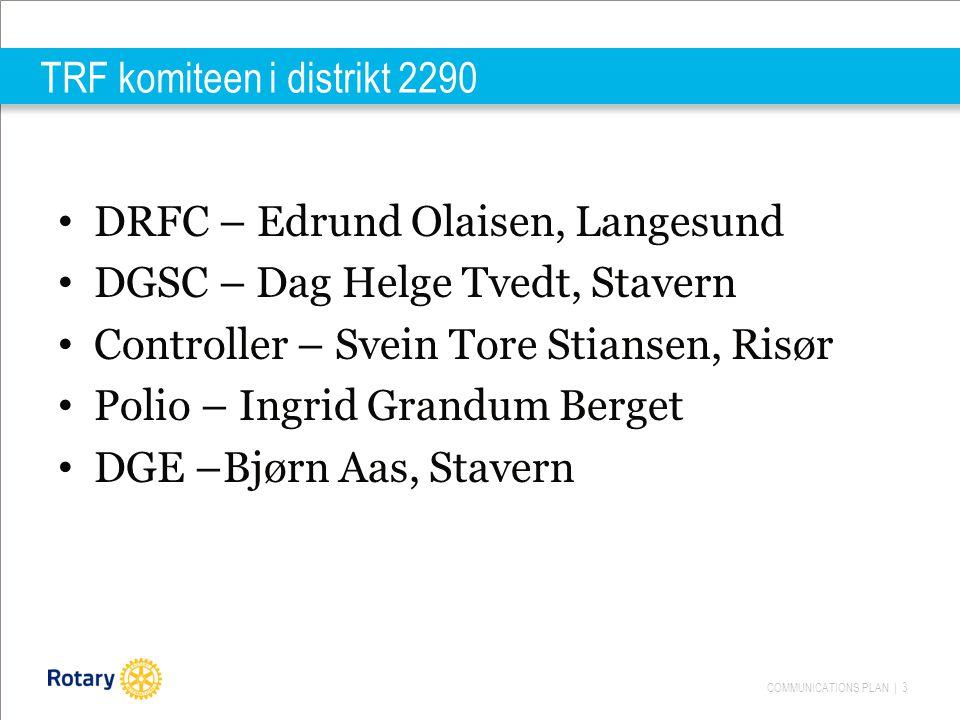 COMMUNICATIONS PLAN | 3 TRF komiteen i distrikt 2290 DRFC – Edrund Olaisen, Langesund DGSC – Dag Helge Tvedt, Stavern Controller – Svein Tore Stiansen