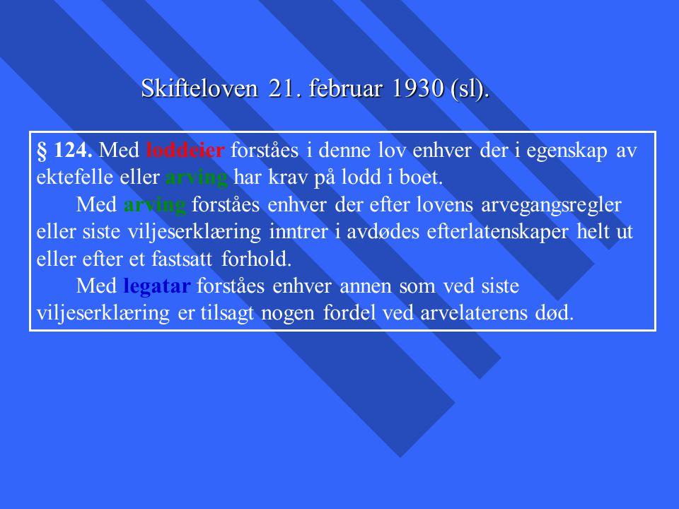 § 124. Med loddeier forståes i denne lov enhver der i egenskap av ektefelle eller arving har krav på lodd i boet. Med arving forståes enhver der efter