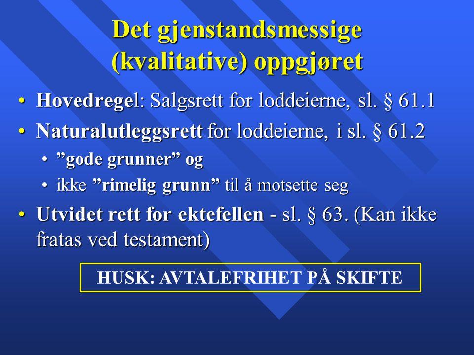 Det gjenstandsmessige (kvalitative) oppgjøret Hovedregel: Salgsrett for loddeierne, sl. § 61.1Hovedregel: Salgsrett for loddeierne, sl. § 61.1 Natural