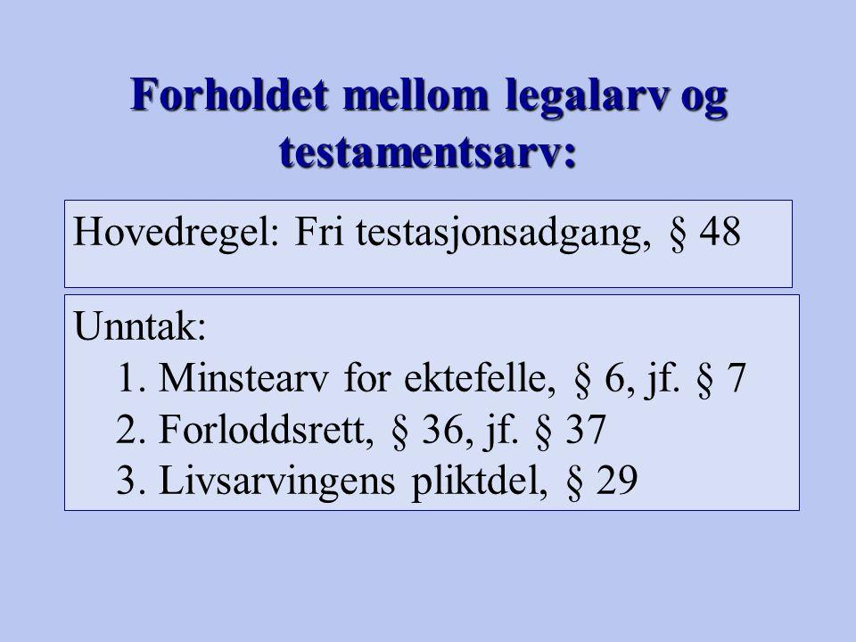 Forholdet mellom legalarv og testamentsarv: Hovedregel: Fri testasjonsadgang, § 48 Unntak: 1.Minstearv for ektefelle, § 6, jf. § 7 2.Forloddsrett, § 3