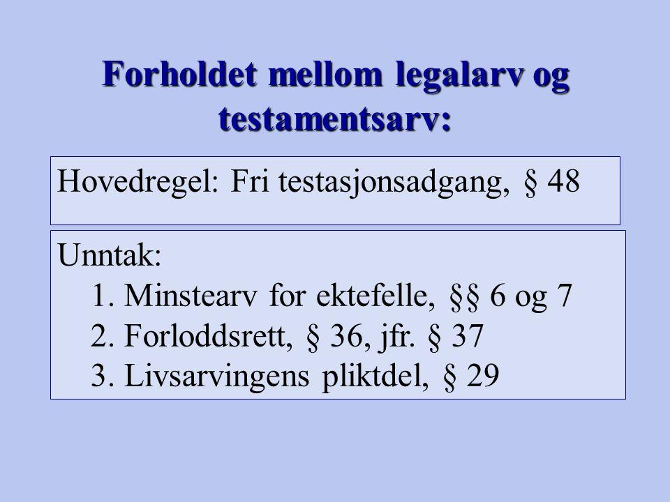 Forholdet mellom legalarv og testamentsarv: Hovedregel: Fri testasjonsadgang, § 48 Unntak: 1.Minstearv for ektefelle, §§ 6 og 7 2.Forloddsrett, § 36,