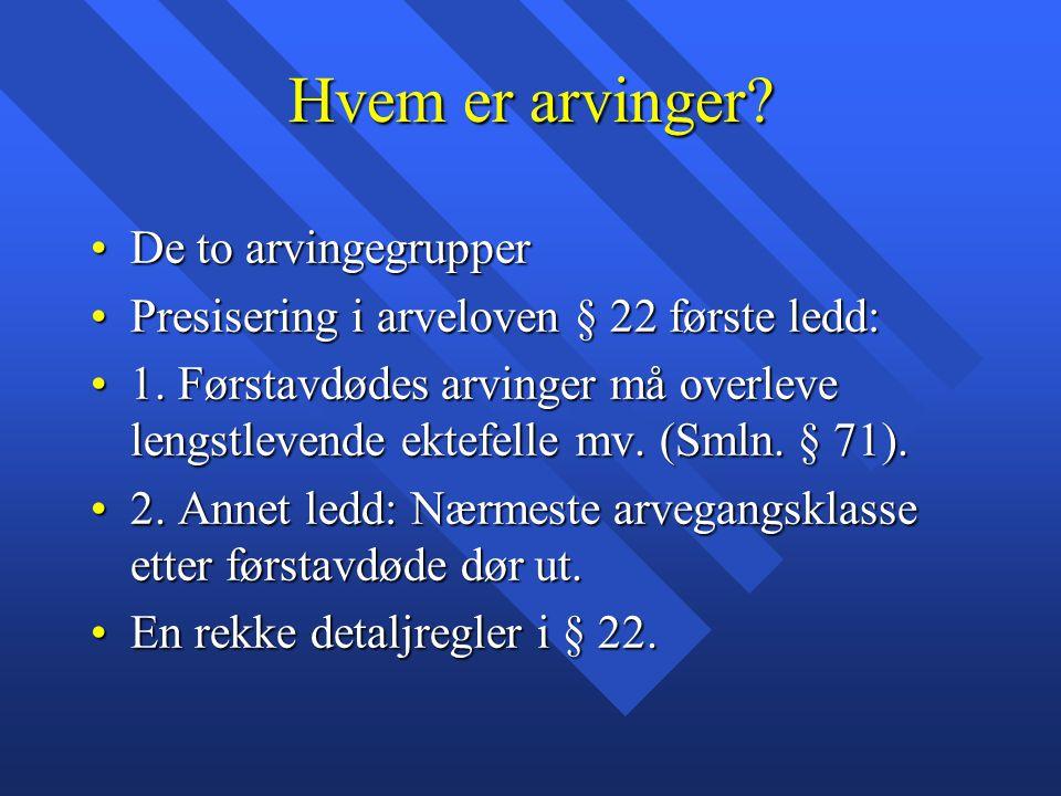 Hvem er arvinger? De to arvingegrupperDe to arvingegrupper Presisering i arveloven § 22 første ledd:Presisering i arveloven § 22 første ledd: 1. Først